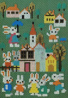 Bunnies cross stitch pattern