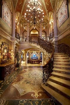 Foyer with Staircase of Chris Cline's North Palm Beach mega Mansion