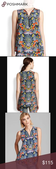 Marc Jacobs Botanical Print Silk Top A zippered split neckline structured by polished piping begins a flowy trapeze-cut tank graced by a refreshing print.   This beautiful top is perfect for the spring/summer. You can dress it up with a blazer or skirt, or wear it casually with jeans/shorts. Would look great with white denim as well.   - Brand new condition; never worn - 100% silk - True to size  - I am open to reasonable offers Marc by Marc Jacobs Tops