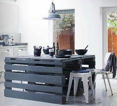 Mesa fácil de construir con palets de obra | Muebles de palets