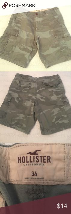 NWOT Men's Hollister Camo Shorts - Size 34 💥NWOT Men's Hollister Camo Shorts - Size 34.  I bought them for school and my son has never worn them. Excellent condition and comes from a very clean, smoke-free home!  I love offers and bundles - check out my other items! 💥 Hollister Shorts Cargo