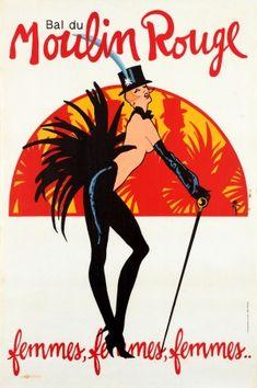 Moulin Rouge Cabaret Rene Gruau 1983 - original vintage poster by Rene Gruau listed on AntikBar.co.uk