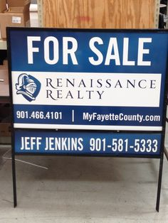 For sale sign on 040 aluminum laminated with stand. Renaissance, For Sale Sign, Sign Printing, Tech, Graphics, Printed, Signs, City, Graphic Design