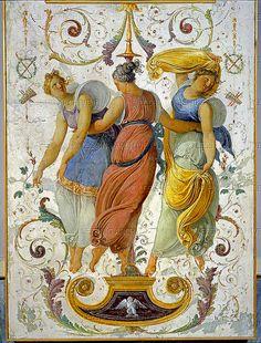 ❤ - Hayez, Francesco - Fresco of three dancing girls    Venice Museo Correr