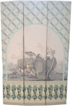 Antique ~ Zuber ~ 3 Panel Screen ~ Dressing or room divider ~ Goregeous French wallpaper ~ Circa Mid 19th century
