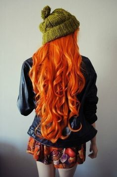 bright pumpkin orange hair