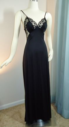 Peek-a-Boo BLACK NEGLIGEE -w- Cutout Sheer Black Lace Vintage 60s Nightgown