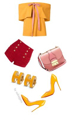 Colorful by aakiegera on Polyvore featuring Rosie Assoulin, Pierre Balmain, Christian Louboutin and Miu Miu