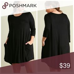 ***New***Your Favorite Black Dress! Scoop neck T-Shirt dress with scalloped hemlines Dresses