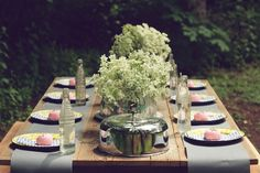 Sweet table shot perfect for outdoor wedding or rehearsal dinner.