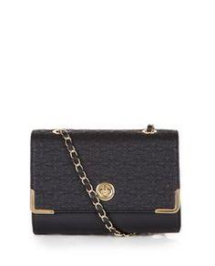 Black Floral Stitch Shoulder Bag | New Look