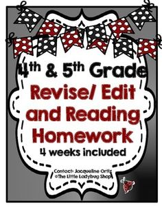 This monthly set of Reading and Language Homework is perfect for your 4th or 5th graders!It covers Reading Strategies: Summary, Main Idea, Characters, Setting, Connections, Predictions.Language- editing sentences for grammar, capitalization, punctuation, commas in a series, compound sentences, dialogue, usage.***Print front to back to save ink!!:)***4 weeks included!
