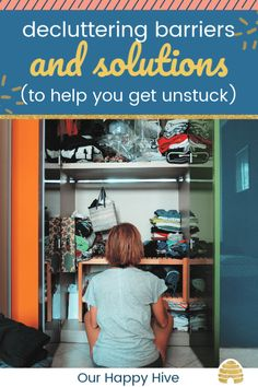 "Are you looking for solutions or motivation to start or finish decluttering? Maybe you've been inspired by Marie Kondo's Tidying Up or her book ""The Life Changing Magic of Tidying Up"" but you're overwhelmed. Check out this post with tips and solutions to help you remove the barriers holding you back! #decluttering #homeorganization #ourhappyhive Declutter Books, Declutter Home, Declutter Your Life, Organizing Your Home, Getting Rid Of Clutter, Getting Organized, Black And White Carpet, Ikea Built In, Clutter Solutions"