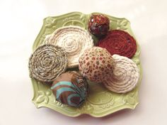 Fall Rosettes Fabric appliques Braided flower by Itsewbella