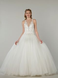 V-Neck Princess/Ball Gown Wedding Dress  with Natural Waist in Beaded Embroidery. Bridal Gown Style Number:33107137