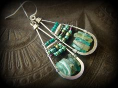 Ancient Roman Glass, Glass, Wire Wrapped, Tear, Hoop, Beaded Earrings by YuccaBloom on Etsy