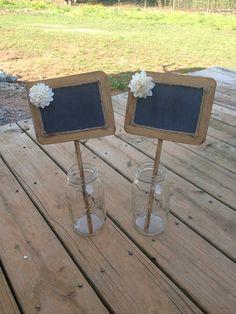 Rustic Wedding Chalkboard Sign - Rustic Wedding Decor - Wedding Table Number - Chalkboard Photo Prop - Set of 2