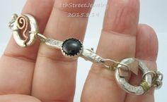 Estate HandCrafted Artisan Sterling Silver .925 Bracelet Amethyst, Onyx & Iolite #Unbranded #Link