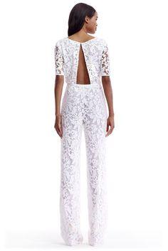DVF Kendra Embellished Open Back Jumpsuit in white More