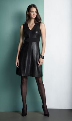 SWISH black leather and ponte knit dress. ETCETERA Fall 2014