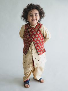 Beige Zari Embroidered Khadi Kruta with Maroon Ajrakh Printed Jacquard Jacket and Dhoti - Set of 3 Baby Boy Dress, Baby Boy Outfits, Kids Outfits, Kids Indian Wear, Kids Ethnic Wear, Boys Kurta Design, Kids Frocks Design, Kids Dress Wear, Dresses Kids Girl