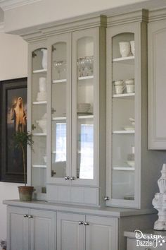 Sharing before and after photos of my built-in China Cabinet. I love how it turned out. I get lots of compliments on this furniture! China Cabinet Redo, Crockery Cabinet, Painted China Cabinets, Grey Cabinets, White China Cabinets, Dining Cabinet, Bedroom Furniture Makeover, Refurbished Furniture, Repurposed Furniture