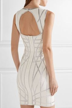 Off-white and silver stretch jacquard-knit Concealed hook and zip fastening at back 90% rayon, 9% nylon, 1% spandex; trim: 49% polyester, 28% viscose, 15% spandex, 8% metallic Dry clean Imported