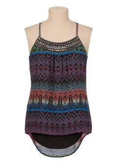 Printed chiffon racerback tank with embellished neckline from maurices