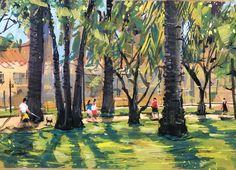 "Timothy Kitz on Instagram: """"Palisades Park"" 6X8"" gouache/casein #pleinairpainting #pleinair #brentwoodartcenter #alliedartistsofthesantamonicamountains…"" Gouache, Park, Painting, Instagram, Painting Art, Parks, Paintings, Painted Canvas, Drawings"