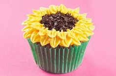 Sunflowers Cupcakes - instead of nonpareils use mini chocolate chips