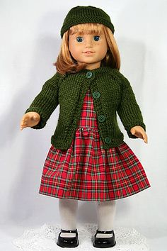 "18"" American Girl Doll Clothes - Handmade Red Plaid Dress with Hand Knitted Olive Green Sweater and Cap on Etsy, $30.00"