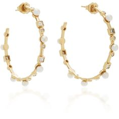Nancy Newberg Yellow Gold Hoop Earrings with Pearls and Diamonds ($2,600) ❤ liked on Polyvore featuring jewelry, earrings, gold, diamond hoop earrings, yellow gold diamond earrings, yellow gold earrings, gold hoop earrings and pearl hoop earrings