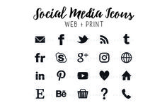 Social media buttons black basic by jaceygraphics on @creativemarket