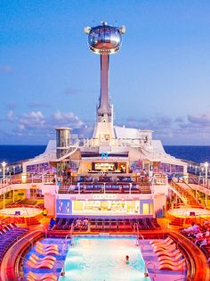 Take a ride on the North Star at sunset for incredible views of not only the ocean but the pool deck of Anthem of the Seas illuminated at night.