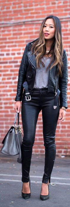 #Leather #Jacket And #Leather #Pants     by Song Of style