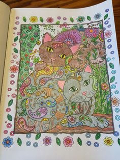 Cats And Flowers Adult ColoringColoring BookCrazy