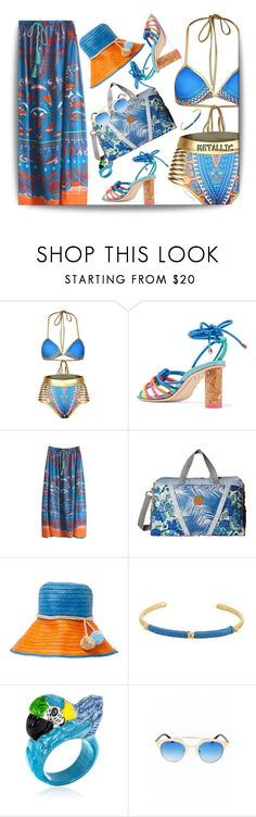 """""""Metallic Swimwear"""" by ragnh-mjos ❤ liked on Polyvore featuring Sophia Webster, WithChic, Maaji, Sophie Anderson, Marte Frisnes and Nach"""