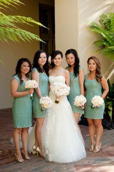 love the lace bridesmaids dresses! | bellethemagazine.com