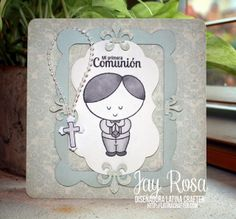 """Card made by using """"Timmy - First Communion"""" clear stamp. Available at http://www.latinacrafter.com/softpencil-studios.html"""