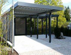 Carport von Siebau in L-Form Metal Barn Homes, Metal Building Homes, Pole Barn Homes, Building A House, Car Porch Design, Design Garage, Modern Pergola Designs, Carport Designs, Carport Garage
