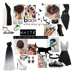 """Black'N'White"" by thejohnlockfangirl ❤ liked on Polyvore featuring Halston Heritage, Converse, Rebecca Minkoff, Ciner, BillyTheTree, Diamondere, Disney and WALL"