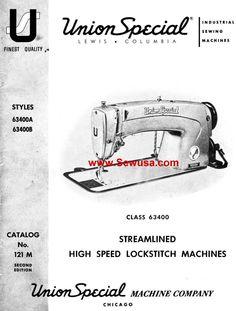 Union Special 63400 A B Instruction Manual & Parts List
