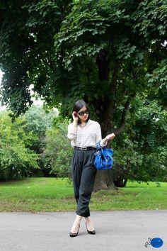grid silk #shirt x high-waist #pants