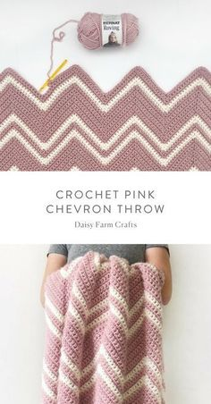 Free Pattern - Crochet Pink Chevron Throw I always see these super pretty throws and wish I knew how to crochet.pink chevron throw - free crochet pattern by daisyfarmcrafts 40 Free Crochet Stitches from Daisy Farm Crafts Irish Stitch Free Crochet Pat Crochet Diy, Crochet Afghans, Crochet Crafts, Crochet Stitches, Chevron Crochet Blanket Pattern Baby, Crochet Afghan Patterns, Crotchet Blanket, Crochet Ripple Blanket, Diy Crochet Projects