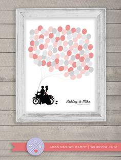 wedding guest book alternative  balloon bunch print by MDBWeddings. , via Etsy.