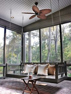 Porch bed swing for a screened porch creates a relaxing and retreat like atmosphere. Screened Porch Designs, Screened Porch Decorating, Screened In Porch, Front Deck, Back Porch Designs, Front Porches, Porch Bed, Porch Swings, Patio Swing