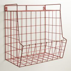 Red Braedyn Wire Wall Storage with Shelf | World Market