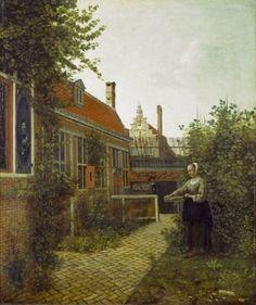 Pieter de Hooch - Vrouw met bonenmand in de moestuin