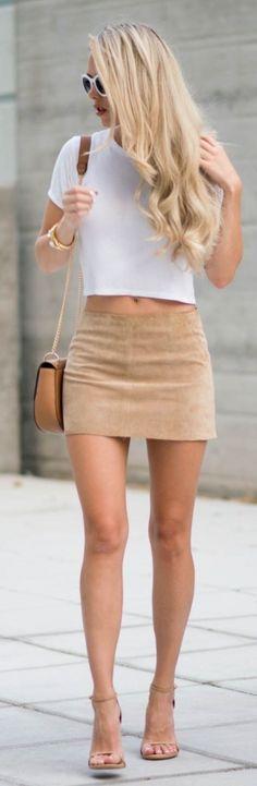 #street #style crop top + suede skirt @wachabuy