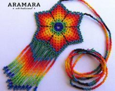 Mexicana Huichol cuentas Rainb gargantilla / collar por Aramara